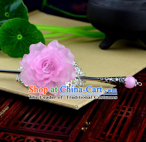 Chinese Traditional Ancient Hair Accessories Hanfu Hairpins Pink Peony Hairdo Crown Headwear for Women