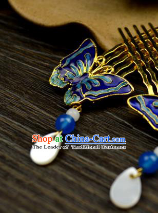 Chinese Traditional Ancient Hair Accessories Hanfu Hairpins Cloisonne Butterfly Hair Comb Headwear for Women