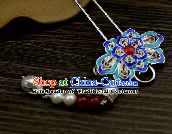 Chinese Traditional Ancient Hair Accessories Hanfu Hairpins Cloisonne Blueing Lotus Tassel Hair Clip Headwear for Women