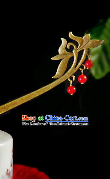 Chinese Traditional Ancient Hair Accessories Hanfu Lotus Hairpins Cloisonne Red Beads Tassel Hair Clip Headwear for Women