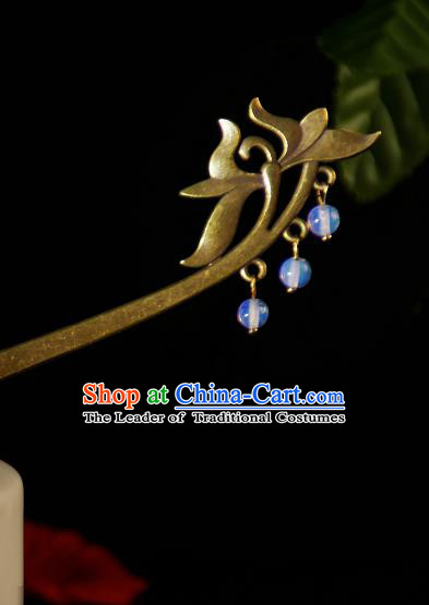 Chinese Traditional Ancient Hair Accessories Hanfu Lotus Hairpins Beads Tassel Hair Clip Headwear for Women
