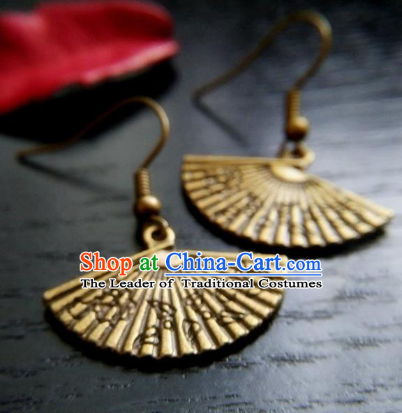Chinese Traditional Ancient Earrings Accessories Hanfu Fan Eardrop for Women
