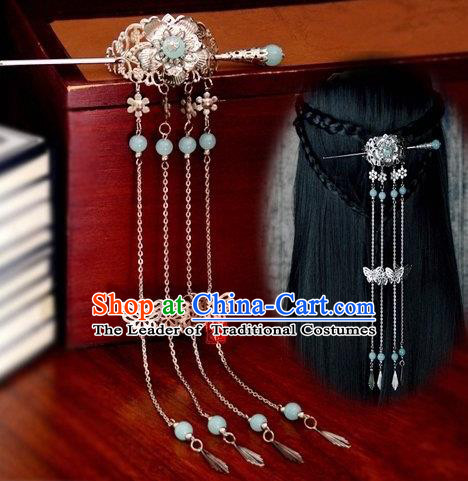 Chinese Traditional Ancient Hair Accessories Hanfu Butterfly Tassel Hairpins Blue Beads Hairdo Crown Headwear for Women
