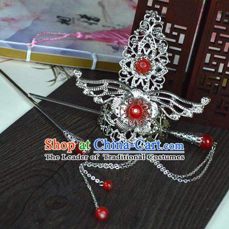 Chinese Traditional Ancient Hair Accessories Hanfu Hairpins Red Beads Hairdo Crown Headwear for Women