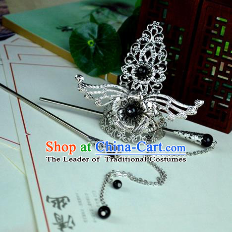 Chinese Traditional Ancient Hair Accessories Hanfu Hairpins Black Beads Hairdo Crown Headwear for Women