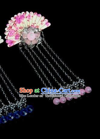 Chinese Traditional Ancient Hair Accessories Hanfu Hairpins Pink Beads Hair Stick Headwear for Women