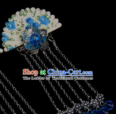 Chinese Traditional Ancient Hair Accessories Hanfu Hairpins Blue Beads Hair Stick Headwear for Women