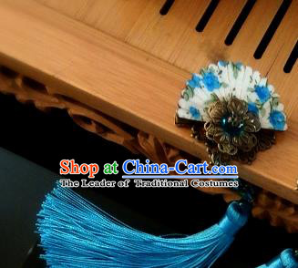 Chinese Traditional Ancient Hair Accessories Hanfu Hairpins Blue Tassel Hair Stick Headwear for Women