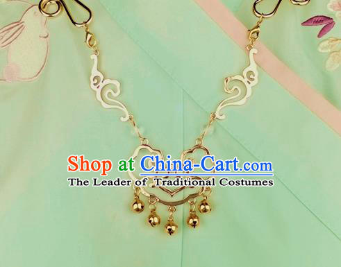 Chinese Traditional Ancient Longevity Lock Accessories Hanfu Bells Tassel Golden Necklace for Women