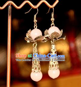 Chinese Traditional Ancient Earrings Accessories Hanfu Pink Eardrop for Women