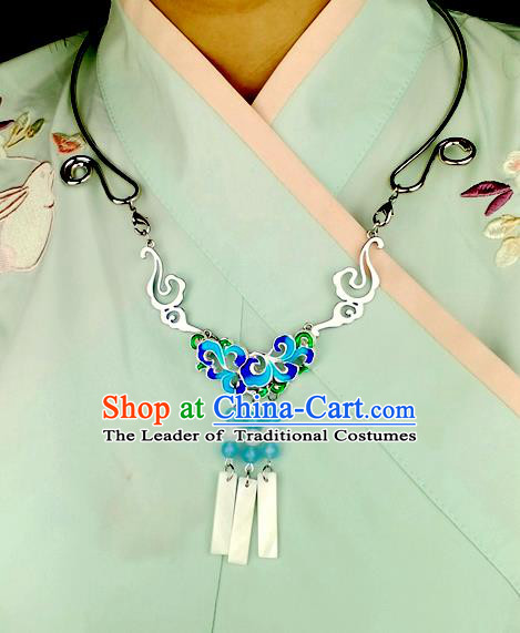 Chinese Traditional Ancient Longevity Lock Accessories Hanfu Blueing Lotus Necklace for Women