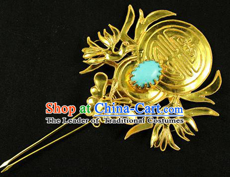 Chinese Traditional Miao Nationality Golden Birds Hairpins Hair Accessories for Women