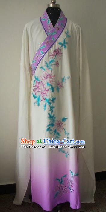Chinese Traditional Beijing Opera Embroidered Chrysanthemum Costumes China Peking Opera Niche Silk Robe Gwanbok for Adults