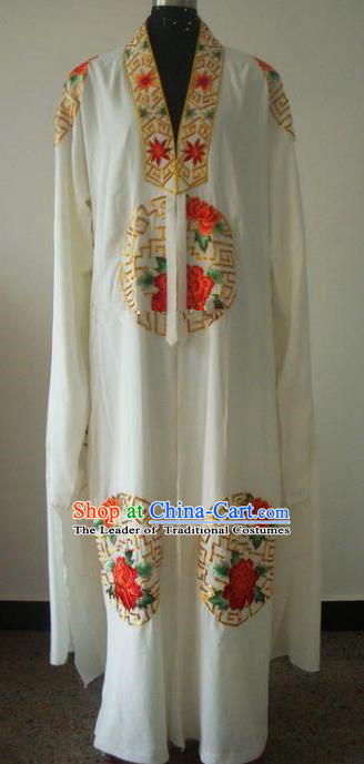 Chinese Traditional Beijing Opera Embroidered Peony Costumes China Peking Opera Niche Silk Robe for Adults