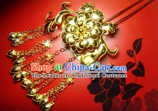 Chinese Traditional Ancient Queen Golden Bells Tassel Hairpins Hair Accessories for Women