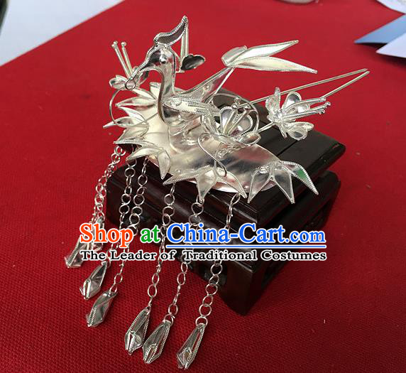 Chinese Traditional Ancient Queen Phoenix Tassel Step Shake Hairpins Hair Accessories for Women