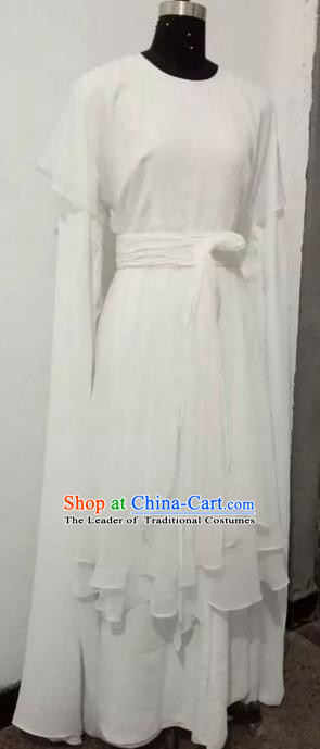Chinese Traditional Beijing Opera Actress Costumes China Peking Opera Young Lady White Dress for Adults