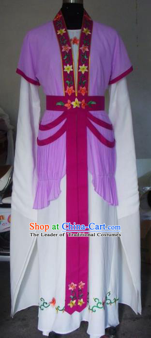 Chinese Traditional Beijing Opera Actress Costumes China Peking Opera Maidservants Purple Dress for Adults