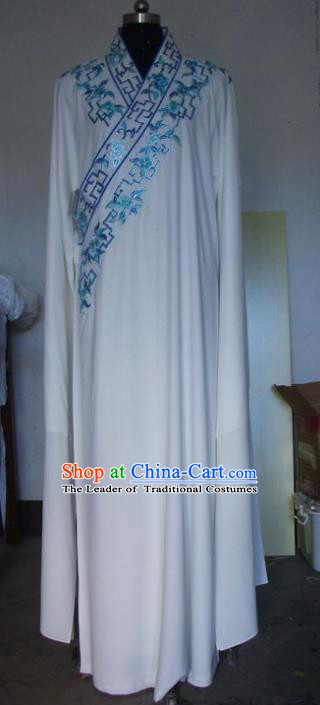 Chinese Traditional Beijing Opera Niche Costumes China Peking Opera White Robe for Adults