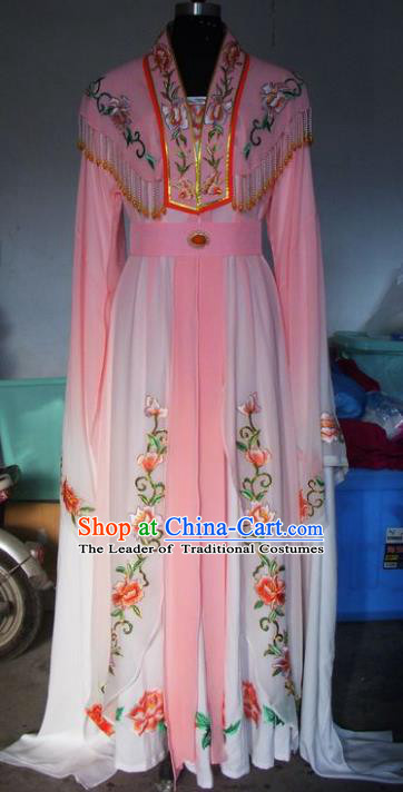 Chinese Traditional Beijing Opera Young Lady Costumes China Peking Opera Diva Pink Dress for Adults