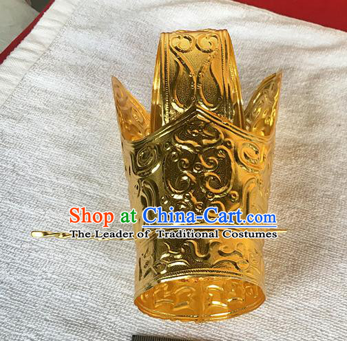 Chinese Traditional Ancient Emperor Golden Tuinga Hairdo Crown Hairpins Hair Accessories for Men
