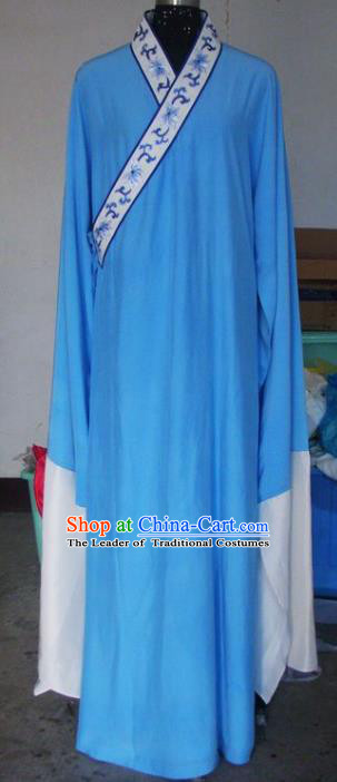 Chinese Traditional Beijing Opera Scholar Costumes Blue Robe for Adults