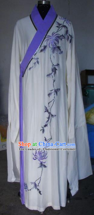 Chinese Traditional Beijing Opera Scholar Costumes Embroidered Chrysanthemum White Robe for Adults