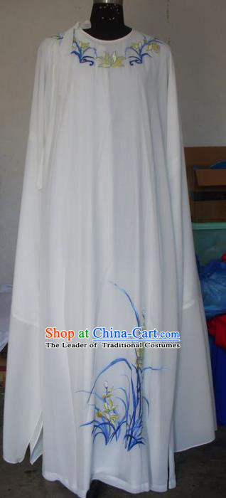 Chinese Traditional Beijing Opera Scholar Costumes Embroidered Orchid White Robe for Adults