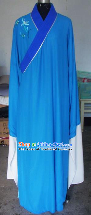Chinese Traditional Beijing Opera Scholar Costumes Niche Embroidered Orchid Blue Robe for Adults