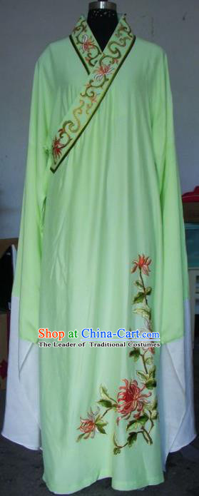 Chinese Traditional Beijing Opera Scholar Costumes Niche Embroidered Chrysanthemum Green Robe for Adults