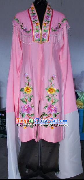 Chinese Traditional Beijing Opera Embroidered Peony Costumes China Peking Opera Actress Water Sleeve Pink Dress for Adults