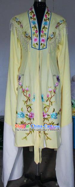 Chinese Traditional Beijing Opera Embroidered Peony Costumes China Peking Opera Actress Water Sleeve Yellow Dress for Adults