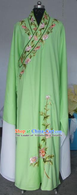 Chinese Traditional Beijing Opera Scholar Costumes Niche Embroidered Peony Green Silk Robe for Adults