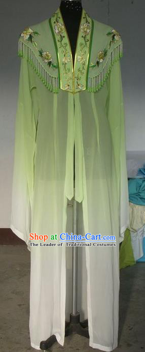 Chinese Traditional Beijing Opera Young Lady Costumes China Peking Opera Green Silk Dress for Adults