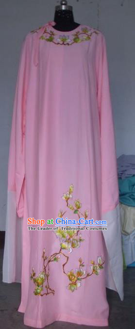 Chinese Traditional Beijing Opera Scholar Costumes Niche Embroidered Printing Mangnolia Pink Robe for Adults
