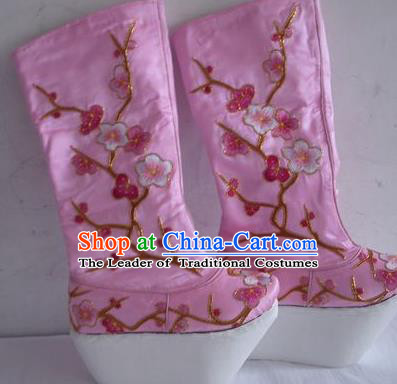 Chinese Traditional Beijing Opera Scholar Boots Embroidered Plum Blossom Shoes for Men
