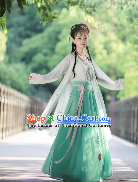 Chinese Ancient Song Dynasty Nobility Lady Embroidered Costumes Hanfu Dress for Women