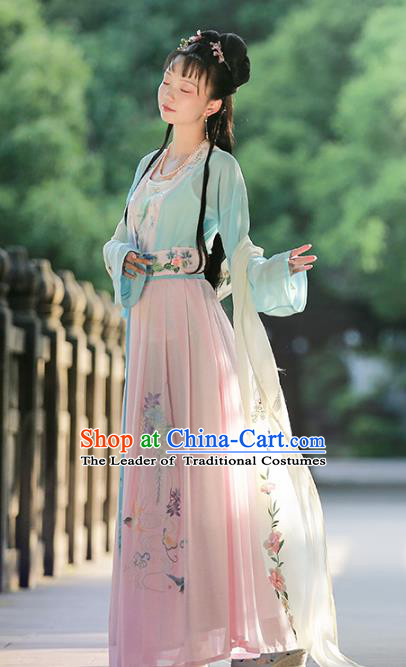 Traditional Chinese Ancient Song Dynasty Nobility Lady Hanfu Dress Embroidered Costumes for Women