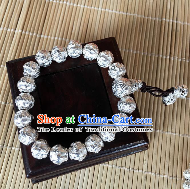 Handmade Chinese Miao Nationality Buddha Beads Sliver Bracelet Traditional Hmong Bangle for Women