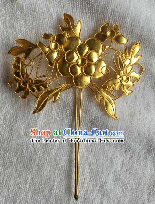 Chinese Traditional Ancient Hair Clip Hanfu Golden Hairpins Hair Accessories for Women