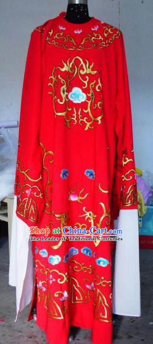 Chinese Traditional Shaoxing Opera Scholar Costumes Peking Opera Niche Embroidered Red Robe for Adults
