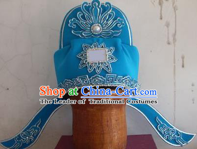 Chinese Traditional Beijing Opera Number One Scholar Blue Hats for Men