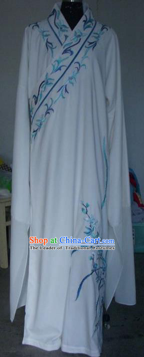 Chinese Traditional Shaoxing Opera Scholar Costumes Peking Opera Niche Embroidered Orchid White Robe for Adults