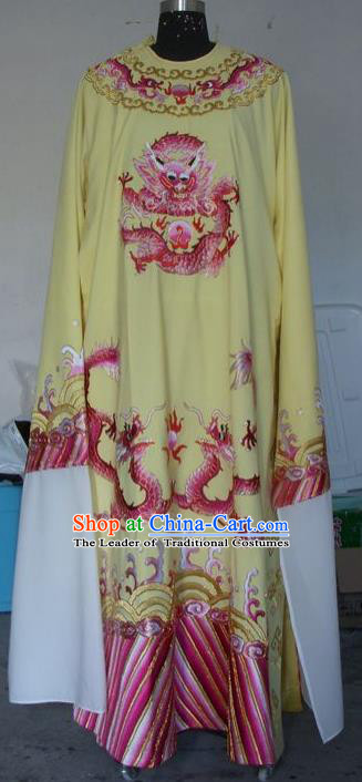 Chinese Traditional Shaoxing Opera Prince Embroidered Dragon Yellow Robe Peking Opera Niche Costumes for Adults
