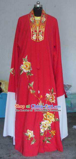 Chinese Traditional Shaoxing Opera Prince Embroidered Peony Red Robe Peking Opera Niche Costumes for Adults