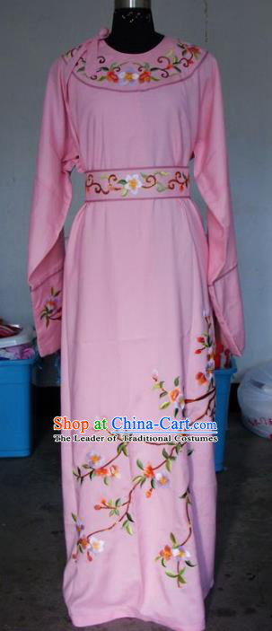 Chinese Traditional Shaoxing Opera Embroidered Peach Blossom Pink Robe Peking Opera Niche Costumes for Adults