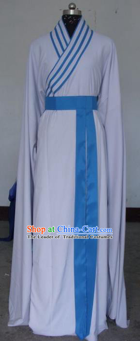 Chinese Traditional Shaoxing Opera White Robe Peking Opera Niche Costumes for Adults