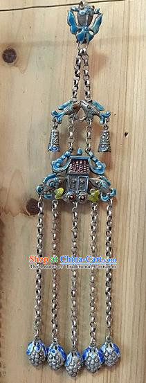 Handmade Chinese Miao Nationality Tassel Necklace Sliver Hmong Blueing Necklet Pendant for Women