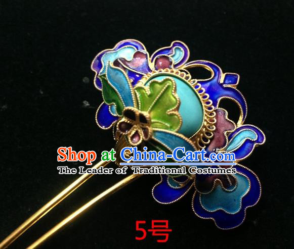 Chinese Traditional Ancient Cloisonne Lotus Hairpins Hair Accessories Hair Clip for Women