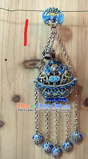 Handmade Chinese Miao Nationality Sachet Waist Accessories Sliver Hmong Blueing Pendant for Women
